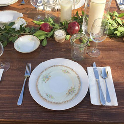 LOVE this table setting! A little color pop was added thanks to the pomegranate picked from my paren