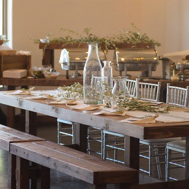 Here's a great shot showcasing mixing benches with chiavari chairs!  This place setting is perfect f