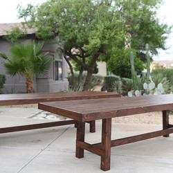 Look what we have in stock!! 2 beautiful 10 foot long hickory stained Douglas fir farm tables! Perfe