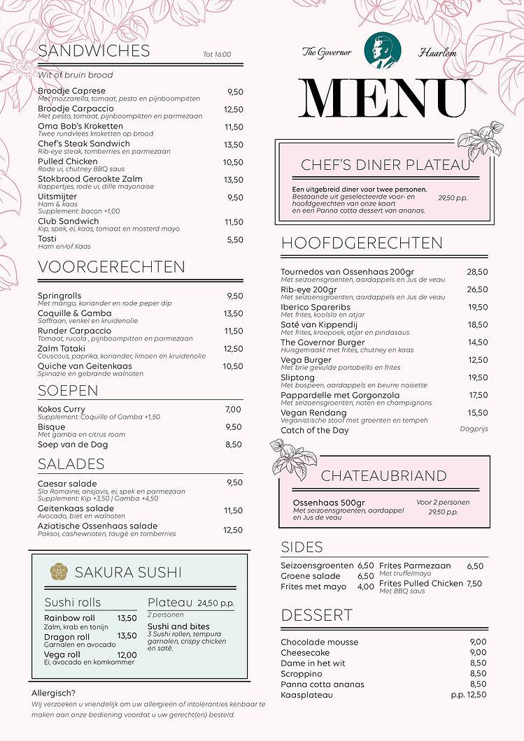 NEW - menukaart - The Governor - Nederla