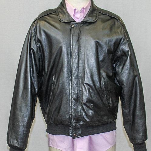 Bally Black Leather Bomber Jacket Medium