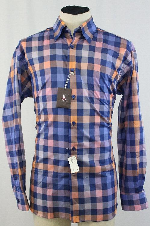 Robert Talbott Blue Shirt w/Coral Check Large
