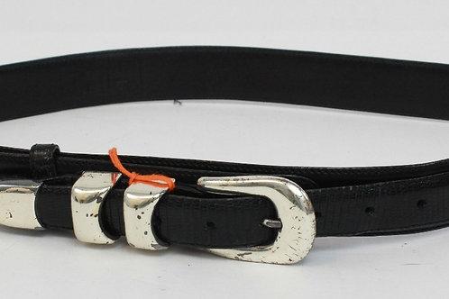 Cale Black Leather Belt w/Lizard Detail 32