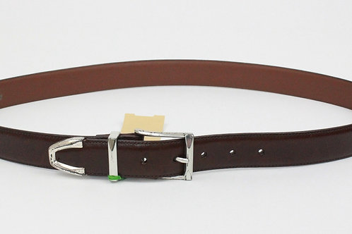 Onyx Brown Leather Belt w/Silver Buckle 40