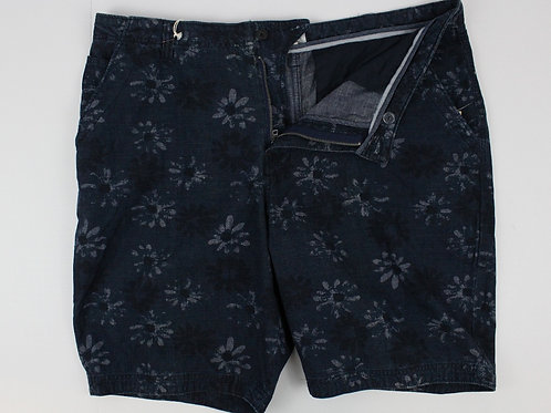 True Grit Blue Shorts Flat Front w/Tropical Theme 40
