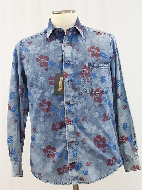 Lenor Romano Blue Long Sleeve w/Hibiscus Print Medium