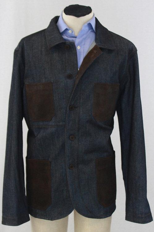 Flynt Blue, Denim Jacket w/Brown Suede Patches XXL