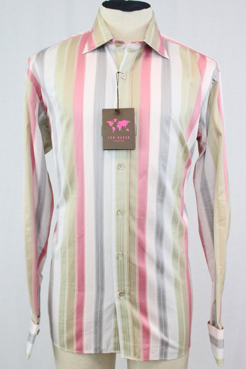 Ted Baker Pink w/Green Stripes French Cuffs XL