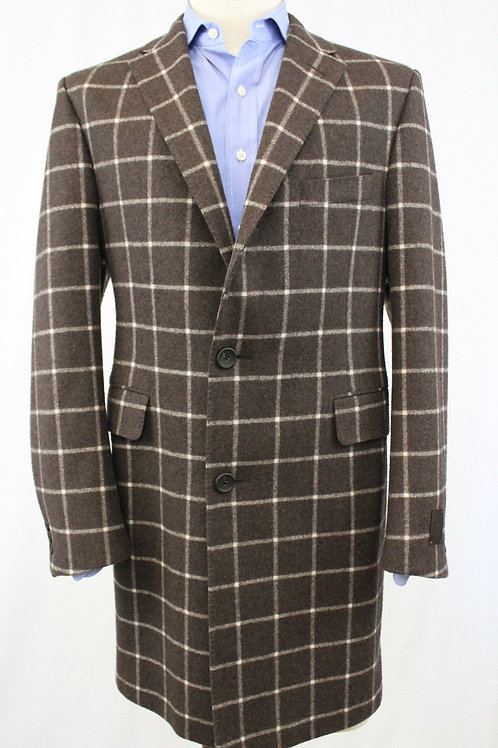 Havlin Wool Topcoat w/Cream Windowpane
