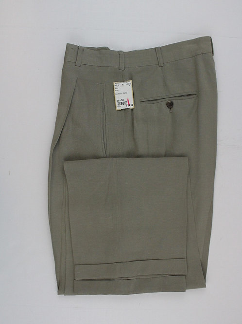 DKNY Stone Silk/Linen Blend Pleated Front 31 x 32