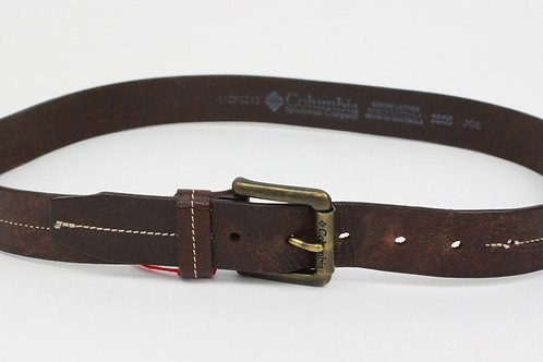 Columbia Brown Leather Belt w/Brushed Buckle 38