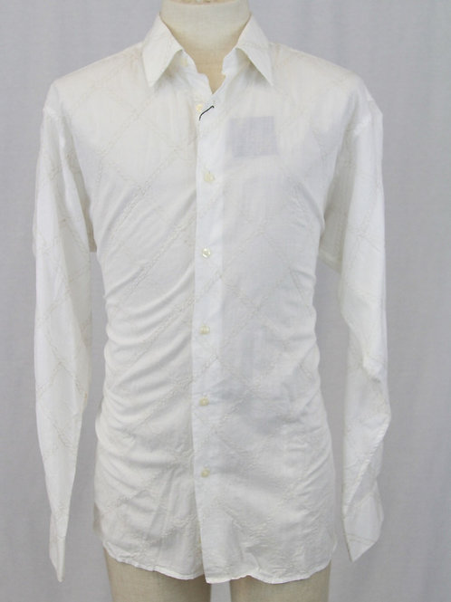 Ike Behar White w/Embroidered Braided/Check NEW w/TAGS XL