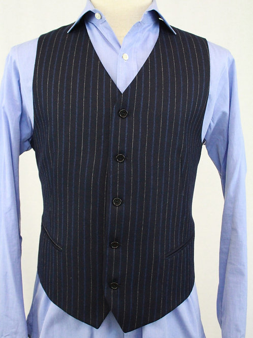 Mabro Uomo Navy Wool Vest w/Grey & Blue Stripes 40 Regular