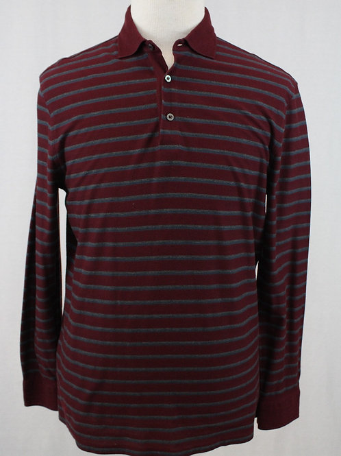 Ermenegildo Zegna Long Sleeve w/Grey Horizontal Stripes Pullover XL