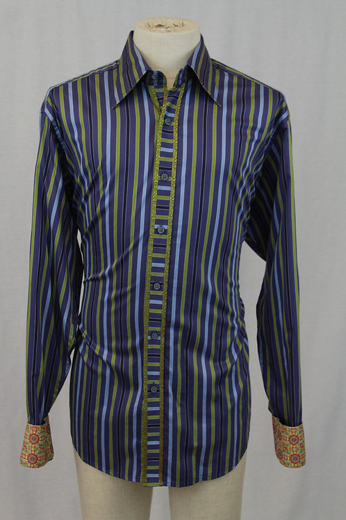 Robert Graham, Blue, Long Sleeve w/Green Vertical Stripes, XLT