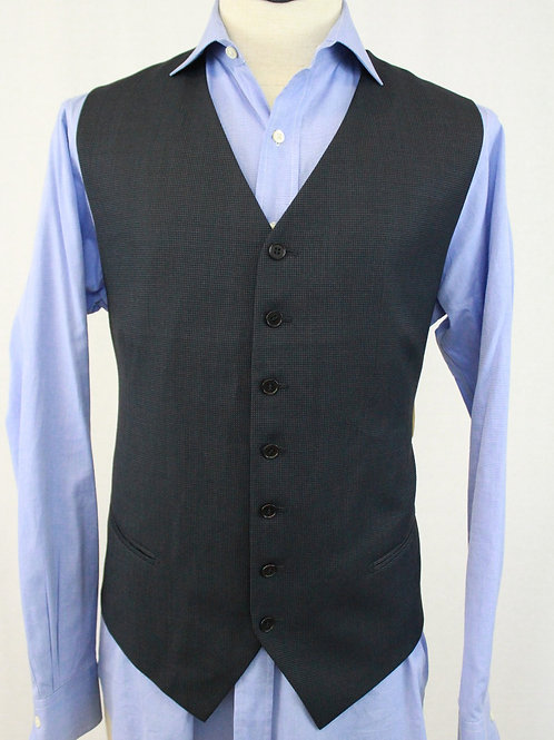 Mabro Uomo Navy Wool Vest Birdseye Weave 48 Regular