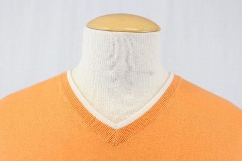 Robert Graham, Tangerine, Long Sleeve, V-Neck, Cotton/Silk/Cashmere