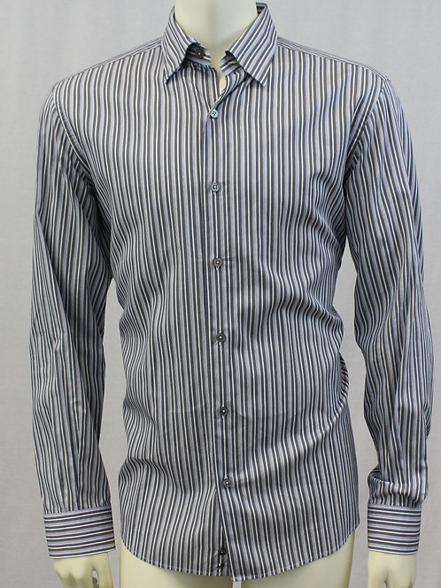 Ermenegildo Zegna Grey Long Sleeve w/Grey Stripes Large