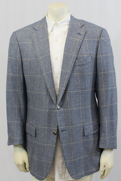 Ermenegildo Zegna Couture Blue Cashmere Glen Plaid 44 Regular