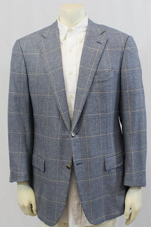 Ermenegildo Zegna Couture Blue Cashmere Glen Plaid 44 Regular
