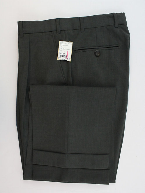 Ermenegildo Zegna Olive 100% Wool Pleated Front Trousers 32 x 32