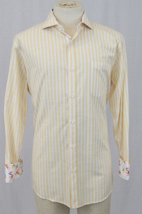 Cigar Couture, Yellow, Long Sleeve w/Yellow & White Stripes, XL