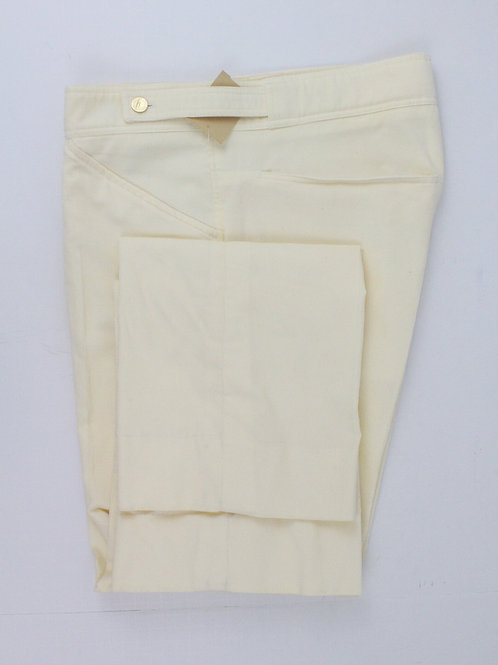 Yves Saint Laurent Cream Narrow Cotton Corduroy w/Brass Button Details 36 x 31