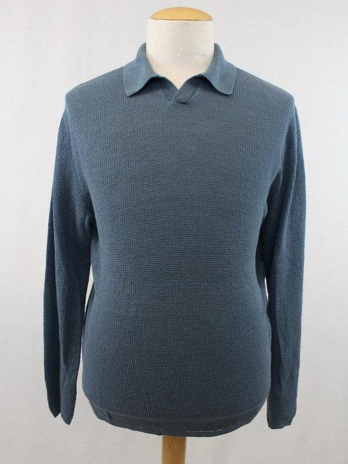 Ermenegildo Zegna Blue Long Sleeve 100% Linen Pullover
