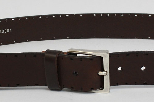 Martin Dingman Brown Leather Belt w/Perforated Detail 36