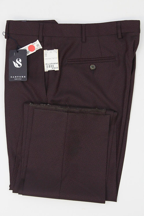 Sartore Wine 100% Wool, Flat Front 35 x Unfinished