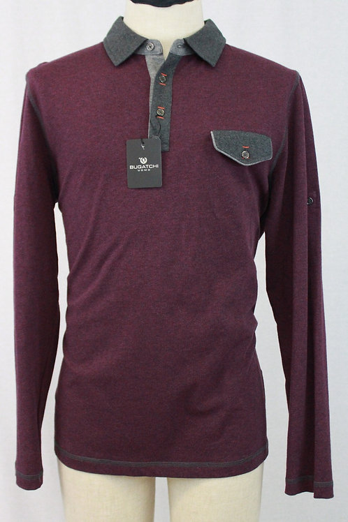 Bugatchi Purple 3 Button Pullover Long Sleeve Large