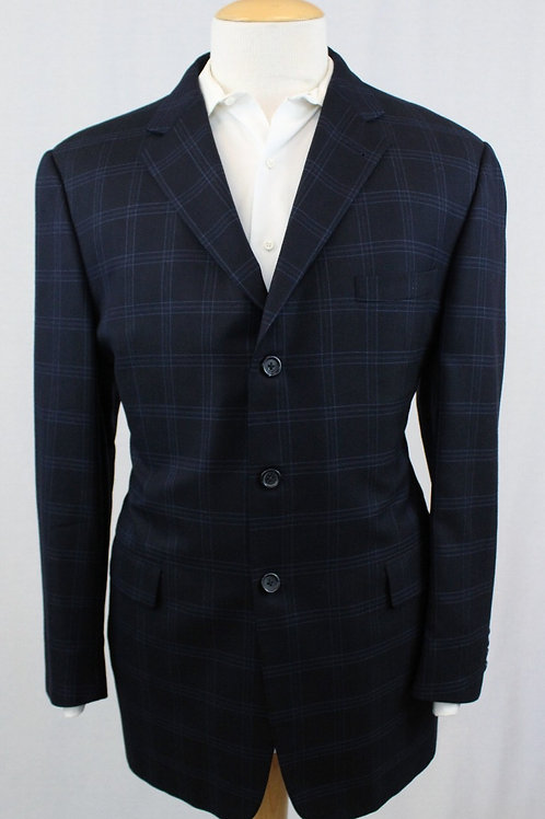 Burberry Blue Wool Windowpane 46 Long