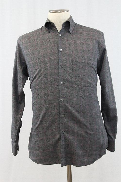 Scott Barber, Grey Long Sleeve w/Purple & Orange Windowpane, Medium