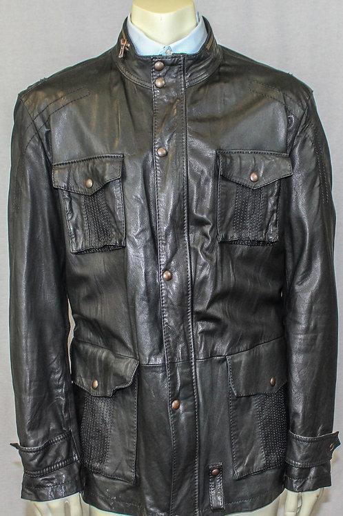 Hugo Boss Orange Leather Jacket Zip Front 44 Regular