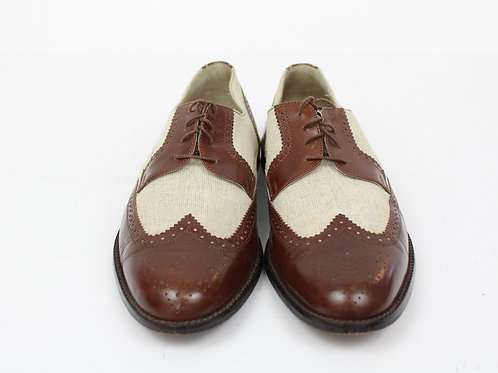 Johnston & Murphy Tan Oxford Spectators Linen & Leather 10