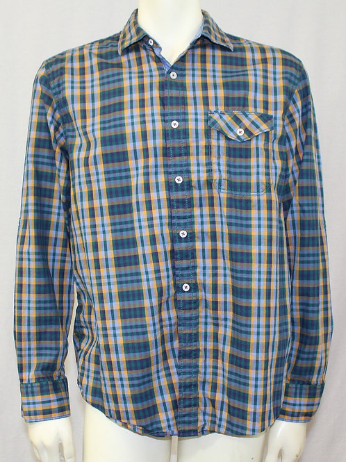Tommy Bahama Blue Long Sleeve, Plaid Large