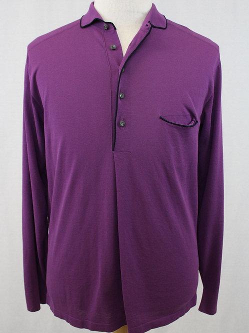 Ermenegildo Zegna Couture Purple Long Sleeve, 5 Button Pullover Large