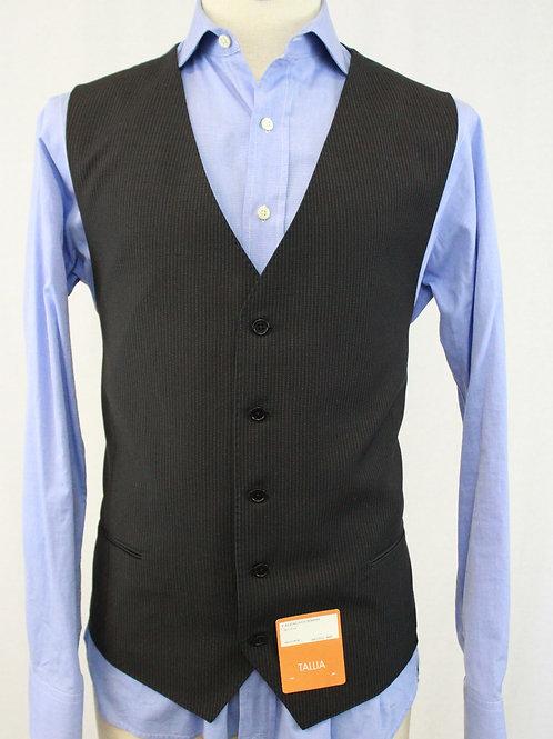 Tallia Black Wool Vest w/Grey Pinstripe 50 Regular