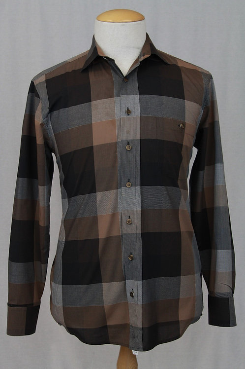 Haupt Taupe Shirt w/Large Check Medium