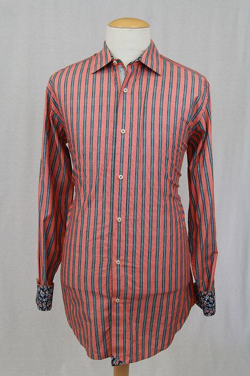 Robert Graham, Orange, Long Sleeve w/Vertical Stripes, XLT