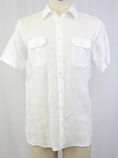 Gran Sasso White Short Sleeve Linen Small