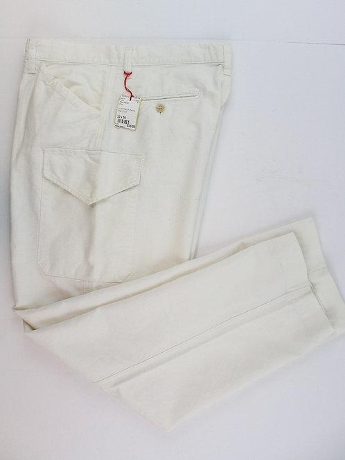 Ralph Lauren White Linen/Cotton Blend Plain Front Cargo Chino 32 x 30