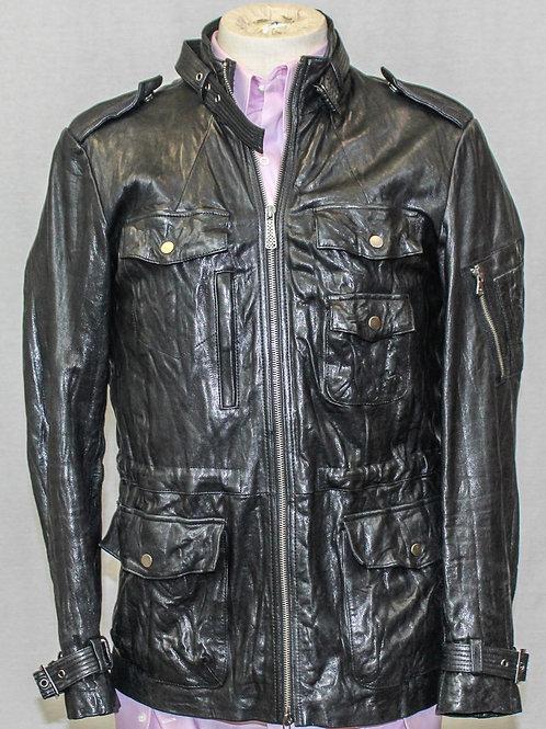 7 for all Mankind Black Leather Bomber Jacket Medium