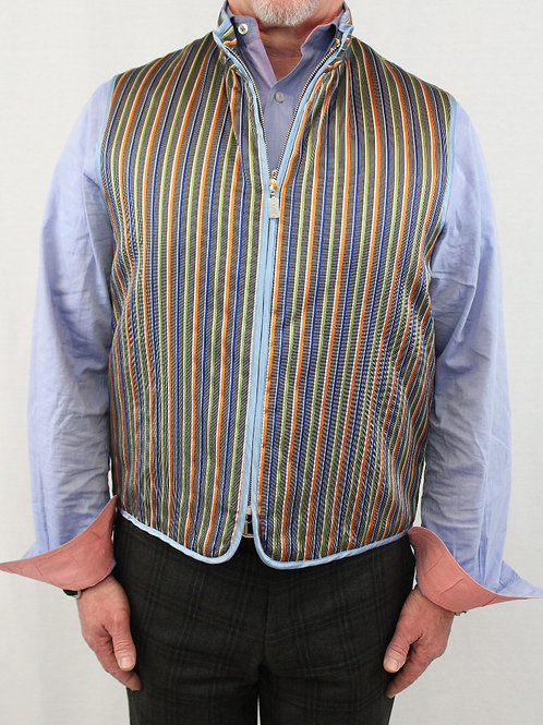 Etro Multi-Colored Vest Vertical Stripes Zip Front w/Lt. Blue Trim NEW w/TAGS