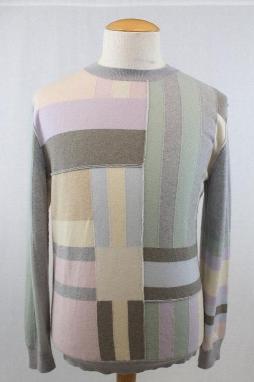 Ermenegildo Zegna, Grey, Color Blocked, Long Sleeve/Crew Neck, XL