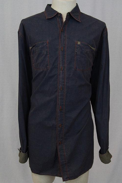 Robert Graham Grey Denim Shirt w/Red Stitching XLT