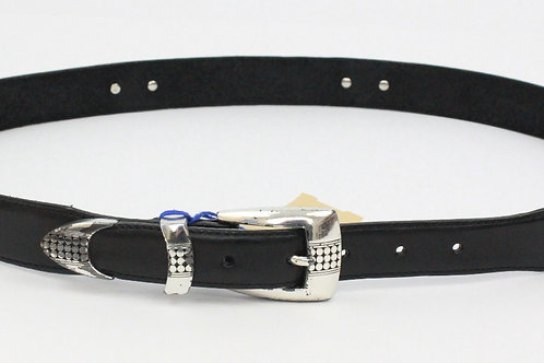 Oxyx by Brighton Black Leather Belt w/Silver Accents 40