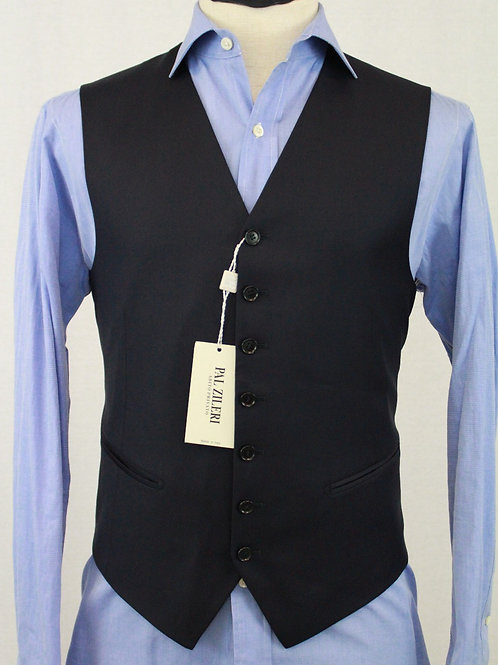 Pal Zileri Navy 100% Wool, 7 Button Front 40 Regular