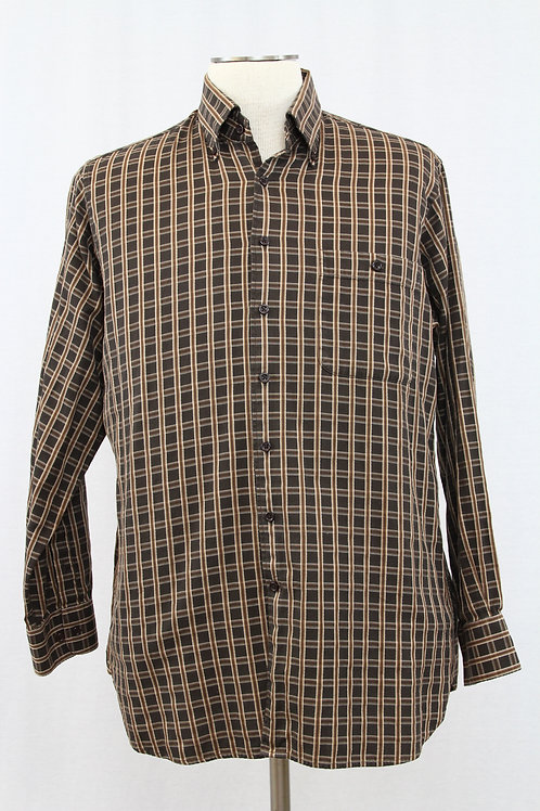 Barry Bricken, Brown, Long Sleeve Checked, Large