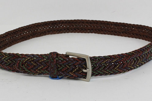 Martin Dingman Braided Brown Leather w/Multi Colored Stitching 36